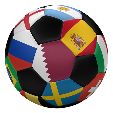 Soccer ball with flags, isolated on white background. 3D rendering. 写真素材