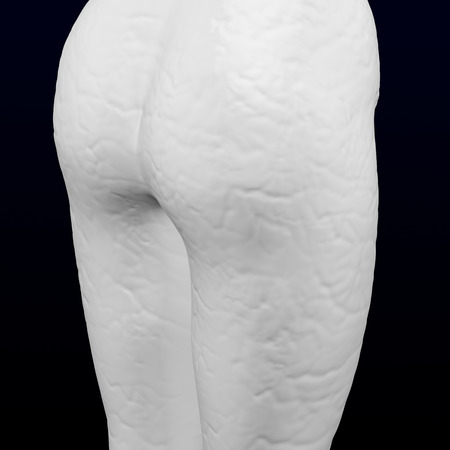3d womans ass with cellulite on black and dark blue background. 3D rendering.