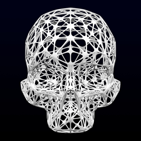 Cellular structures as artificial skull on black and dark blue background. 3D rendering.