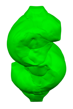 Green dollar sign, isolated on white background. 3D rendering. 写真素材