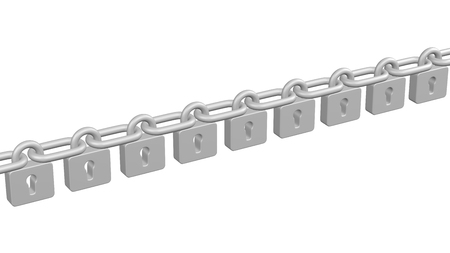 Concept: Blockchain. Padlocks as ?hain, isolated on white background. 3D rendering.