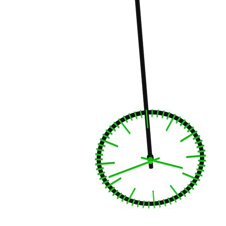 Pendulum with green clock face, isolated on white background. 3D rendering. Banco de Imagens