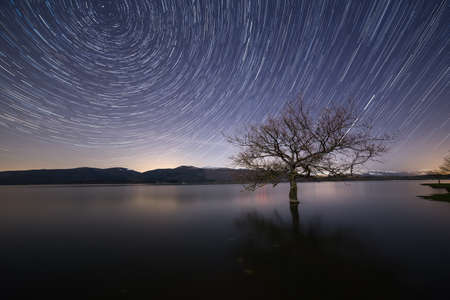 star trail: Star trail over the lake