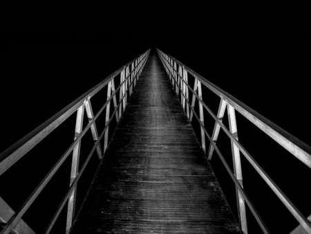 mistery: Footbridge at night Stock Photo