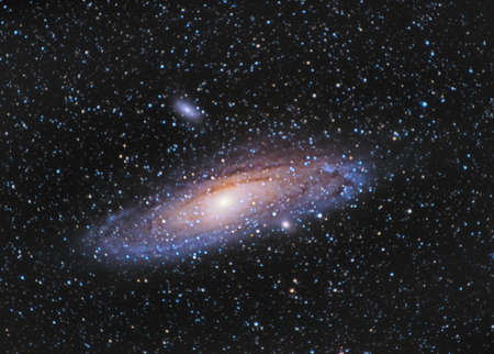 M31, Andromeda Galaxy over Entzia mountains in Spain