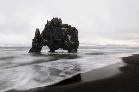 Hvitserkur. volcanic rock at the sea in Iceland 写真素材