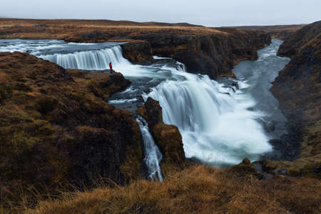 Reykjafoss, beautiful waterfall in the north part of Iceland