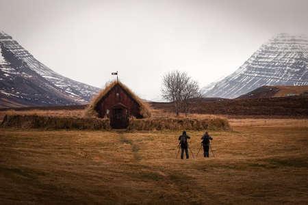 Grafarkirkja in autumn, the oldest church in Iceland