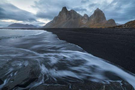 Eystrahorn mountain from the beach in Hvalnes, Iceland