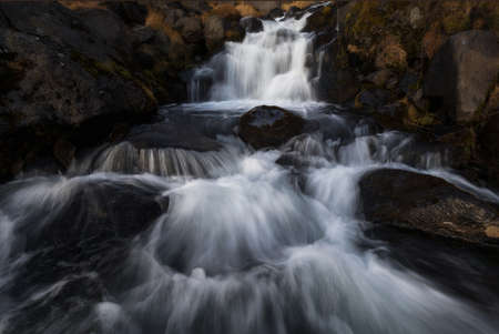 Bjarnarfoss waterfall in autumn, north europe, iceland