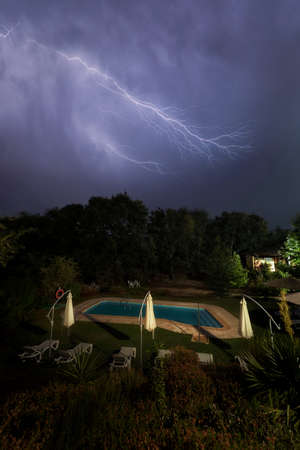 Thunderstorm, lighting and thunder in a storm in Caceres, Spain