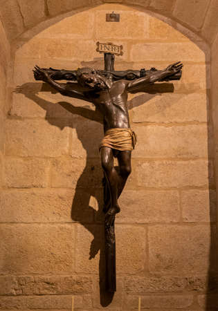 Black christ in Caceres, Old and gothic village in Extremadura, Spain 版權商用圖片
