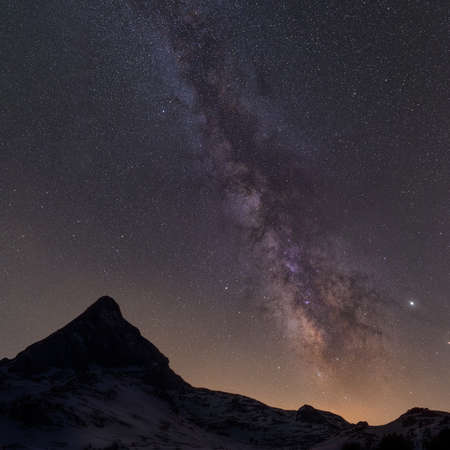 Milky way over the mountains in Spain
