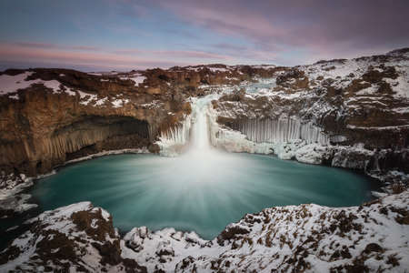Aldeyjarfoss, icelandic waterfall rounded by basalt columns