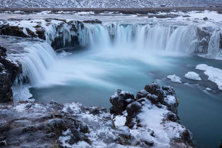 Godafoss, god's waterfall in Iceland at winter