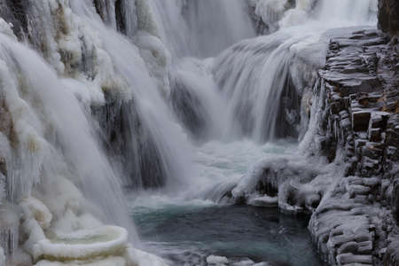 Kolugljúfur canyon frozen and snowed in winter in Iceland