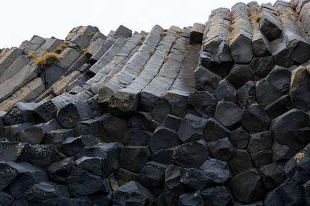 Basaltic columns in Kálfshamarsviti lighthouse in Iceland 版權商用圖片