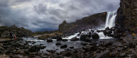 Oxararfoss, a great waterfall in thingvellir natural park