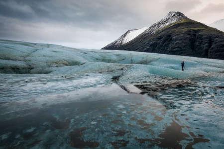 Heinabergslón glacier in Iceland, pure wild nature 版權商用圖片 - 138296197