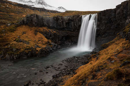 Gufufoss, beautiful waterfall in seydisfjordur, in Iceland 版權商用圖片