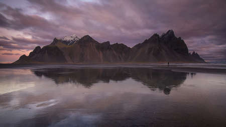 Stokksnes beach at Vestrahorn mountains in Hofn, Iceland