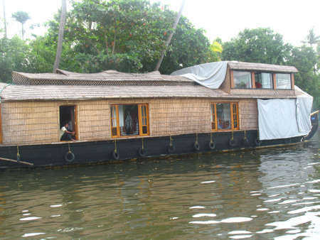 allepey: House Boat Stock Photo