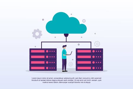 Cloud computing concept with tiny people. Can use for web landing page, banner, marketing material. Vector Illustration Vectores