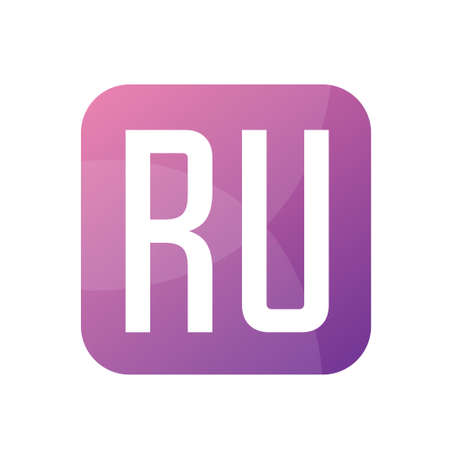 RU Letter Logo Design With Simple style