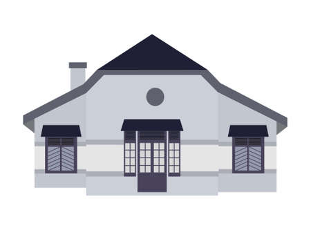 An illustration of blue colonial house