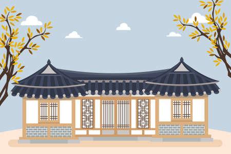 Vector illustration of hanok, korean traditional house