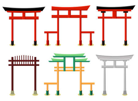 Vector set of east asian gate