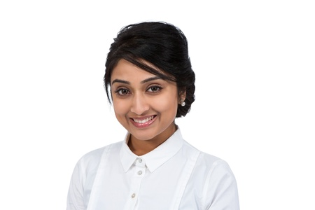 Close-up shot of a smiling businesswoman
