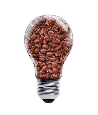 전구에 커피 씨앗