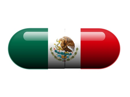cartel: A pill with the Mexican flag wrapped around it