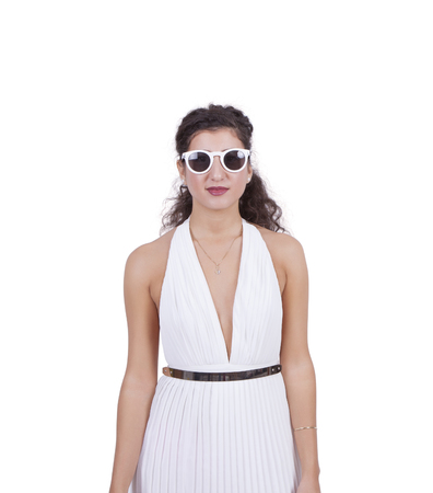 Attractive young woman wearing sunglasses isolated over white background