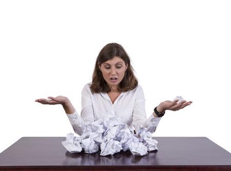 Stressed Businesswoman Holding Paper Ball Banco de Imagens