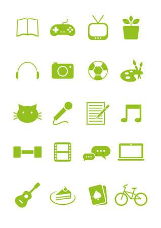 aficiones conjunto de iconos Ilustración de vector