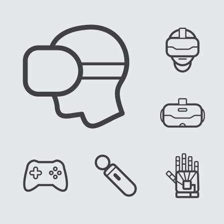 move controller: Virtual Reality Line Icons set 1 Illustration