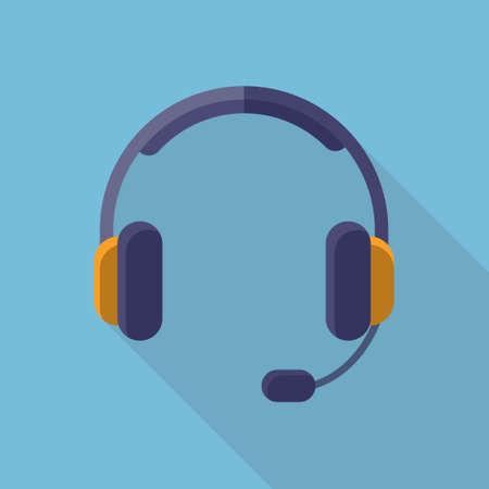 flat: Headphones Headset Flat Long  Shadow