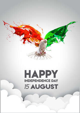 Vector illustration of Indian tricolor flag with flying pigeon. easy to edit vector illustration of  Indian independence day celebration background