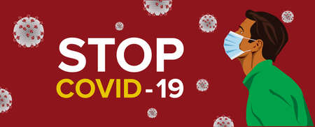 Novel Coronavirus (2019-nCoV). Virus Covid 19-NCP. Coronavirus nCoV denoted is single-stranded RNA virus. Background with man wearing surgical mask. Horizontal banner, poster, header for website Иллюстрация