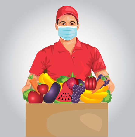 Delivery of goods during the prevention of coronovirus, Covid-19. Courier in a face mask with grocery box in his hands. Vector flat illustration. Illustration