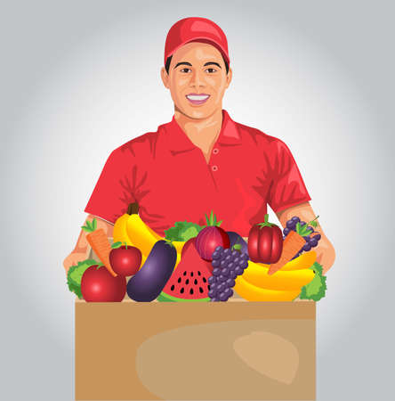 grocery express delivery boy holding cardboard box with fruits and vegetables. Vector flat illustration. Young man in a red T-shirt and uniform cap.online delivery Concept