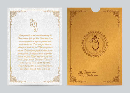 Indian wedding Invitation card templates with flower patterned.