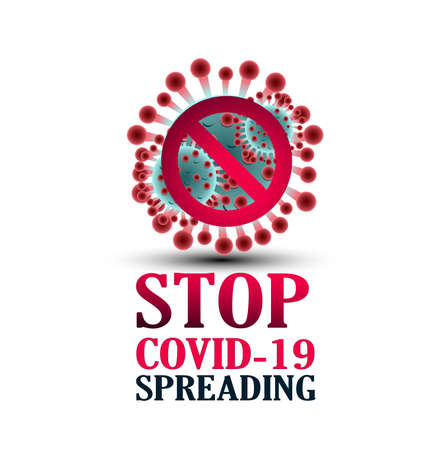 Stop Covid-19 Sign & Symbol, vector Illustration, Typography Design, World Health Organization WHO introduced new official name for Coronavirus disease named COVID-19.