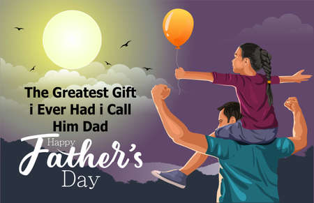 Vector illustration of cute girl sitting on her father's shoulder for Happy Father's Day celebration.