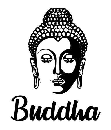 Buddha head silhouette, drawing vector, illustration black and white