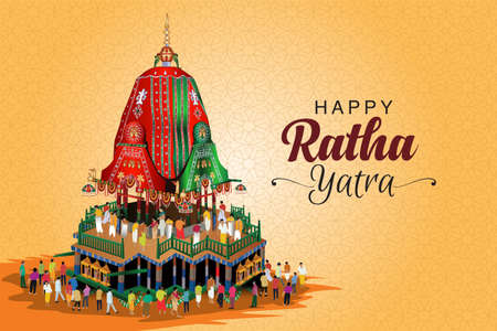 Vector Illustration design of Ratha Yatra of Lord Jagannath-( The return journey of Puri Jagannath Ratha Jatra is known as Bahuda Jatra )-Vector