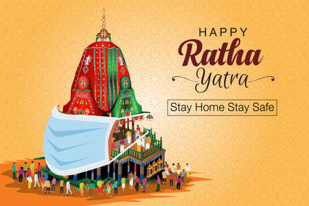 Rath Yatra festival (locally called Ratha Yatra) is based around the worship of Lord Jagannath, corona virus, covid-19 concept. vector illustration Vectores