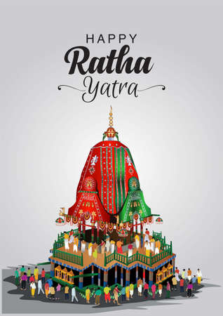 vector illustration for Indian festival With Hindi text means happy Chariot Journey, temple on chariot with wheel and shiny background with confetti